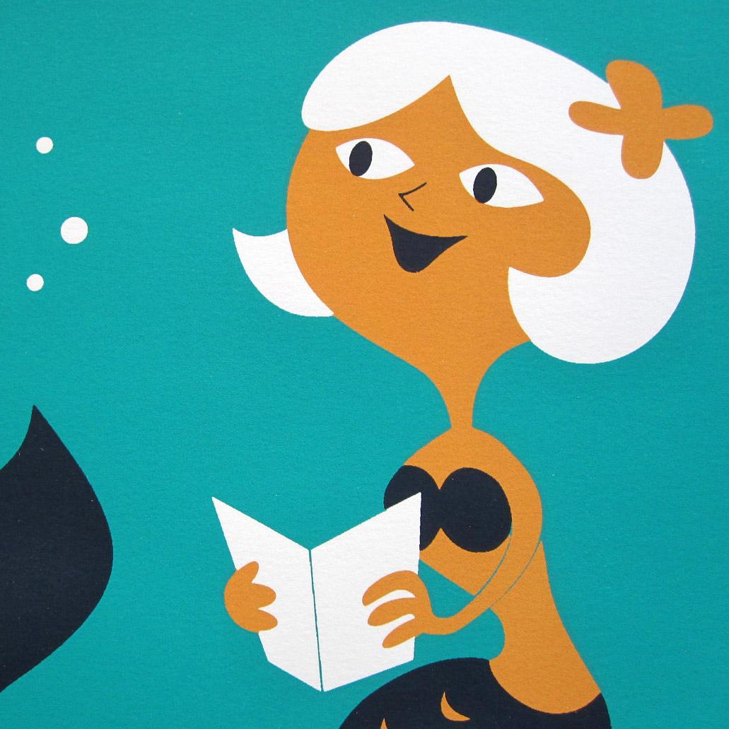 Reading Mermaid Print